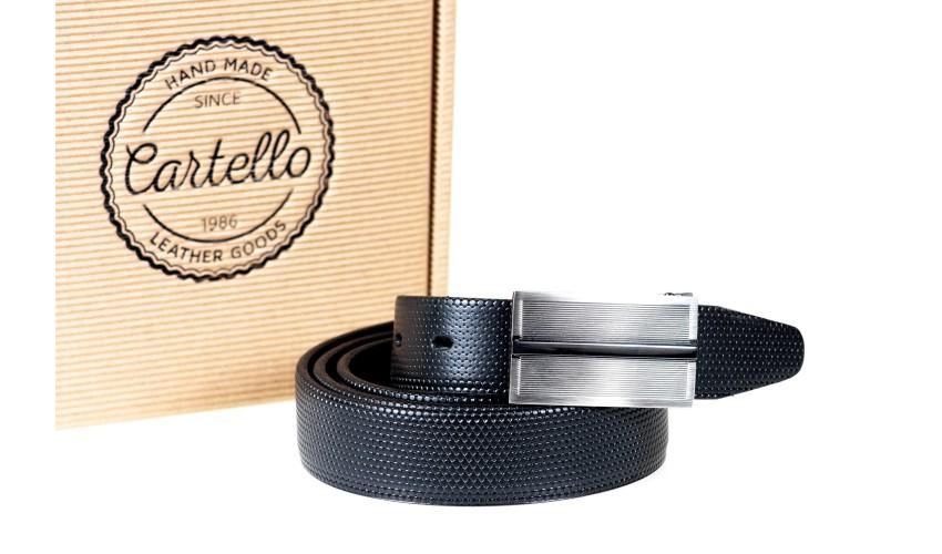 Pasek skórzany, elegancki Cartello C-2130