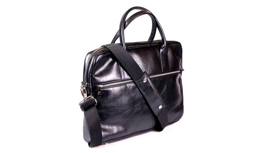 Czarna skórzana torba na laptopa i dokumenty + dwa paski London 45-1