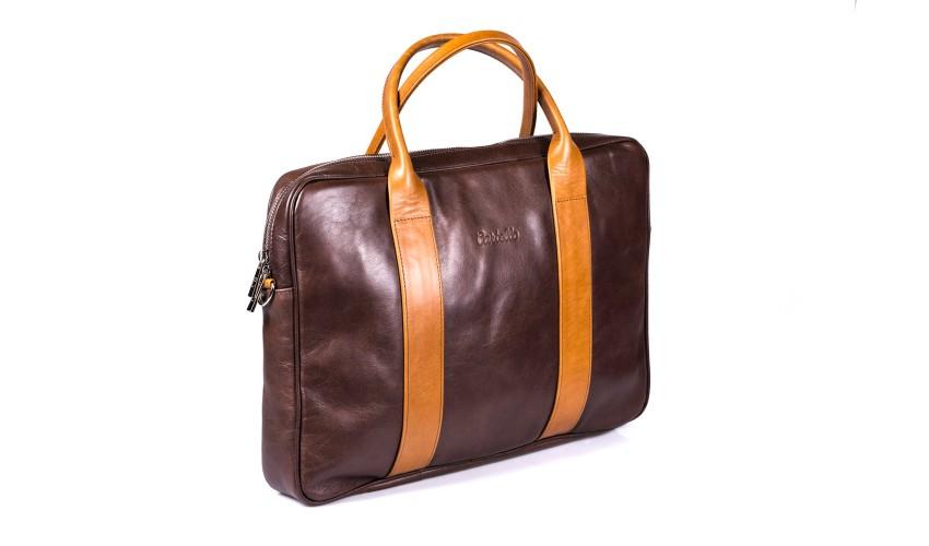 Brązowa skórzana torba na laptopa i dokumenty + dwa paski London 45-2L-4L