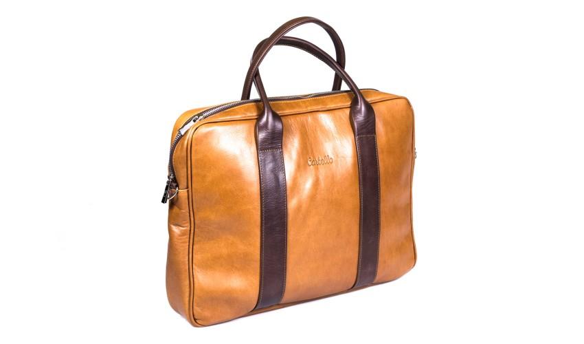 Koniakowa skórzana torba na laptopa i dokumenty + dwa paski London 45-4L