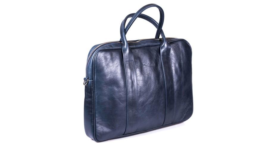Granatowa skórzana torba na laptopa i dokumenty + dwa paski London 45-7L