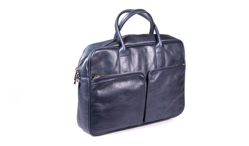 Granatowa skórzana torba na laptopa i dokumenty + dwa paski London 46-7L