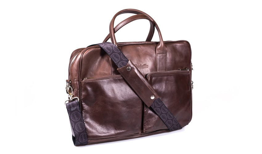 Brązowa skórzana torba na laptopa i dokumenty + dwa paski London 46-2L