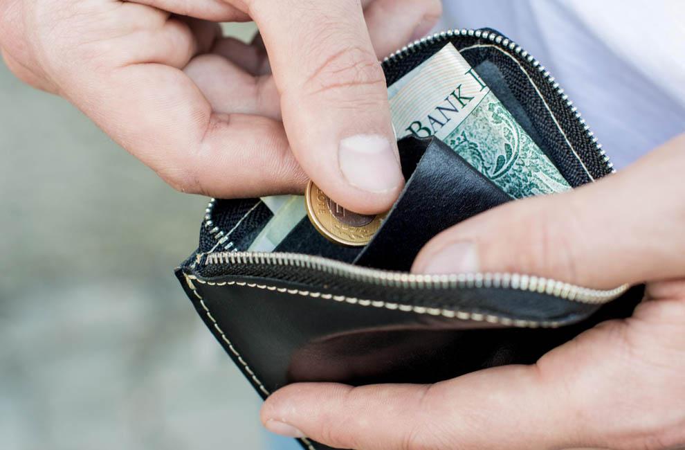 Cienki portfel skórzany